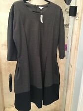 GAP Gray FIT & FLARE Thick Longer sleeve DRESS SIZE 18 NWT W Pockets