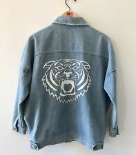 Vintage Relaxed Oversized Denim Jacket 80's 90's Small Boxy Tiger Head Festival