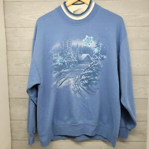 Vintage Morning Sun Snowy House Sweatshirt Double Neck Collar Size Large