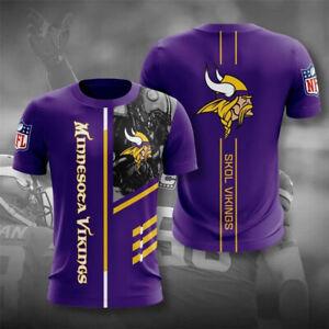 Minnesota Vikings Men Casual T-shirt Short Sleeve Top Tee Soft Sportswear S-5XL