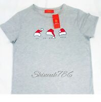 New Ladies Christmas Santa HAT Grey t shirt XMAS tee top Primark Polycotton