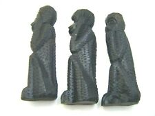 More details for three wise monkeys ~ 3 x antique vintage carved wooden ebony / ebonised statues