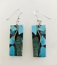 Santo Domingo Mosaic Turquoise Jet Sterling Inlay Dangle Earrings - Tim Bailon