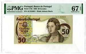 Portugal. Banco de Portugal. 1980 50 Escudos P-174b PMG Superb Gem Unc 67 EPQ
