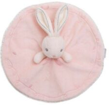 Doudou plat rond kaloo lapin blanc rose collection Perle NEUF