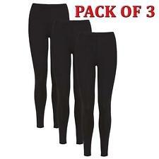 Ladies Full Length Stretch Cotton Black Leggings - Pack of 3