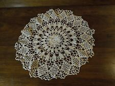 "Vintage Hand-Crocheted Doily 13"" Round Pretty Heart and Diamond Pattern"