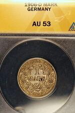1906-D ANACS AU53 Germany Silver One Mark!! E0918