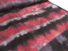 ☻ Stoffe Hochw. Ital. Batik Leinen Jacquard Crash rot schwarz weiß mit Rapport☻