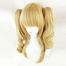 Lolita Style 4 Colors Women Anime Cosplay Hair Full Wig + Two Curly Ponytails