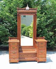 Stunning Carved Oak Victorian Cheval Mirror Dresser Vanity with Original Light