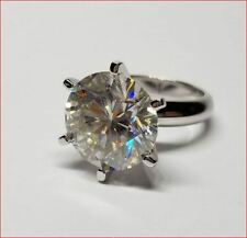 Solitaire Moissanite Ring 10Ct White Round Engagement Ring 14k White Gold