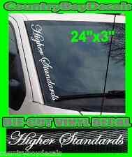 HIGHER STANDARDS Vertical Windshield Vinyl Decal Sticker Truck Car Turbo Diesel