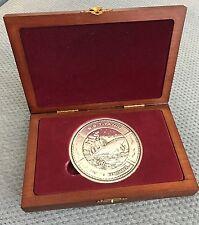 TITANIC 1lb PURE SILVER COMMEMORATIVE COIN & CARVED PRESENTATION BOX-vintage