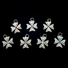 Sterling Silver filigree Maltese Cross pendant 2cm Swarovski Hand made in Malta
