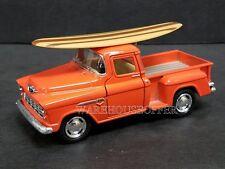KINSMART 1/32 1955 CHEVROLET STEPSIDE PICK-UP W/ SURFBOARD DIECAST CAR ORANGE