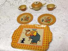 Vintage, Rare, J. Chein, 7pc Childs, Elephant Tin Tea Set