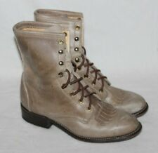 Ladies Laredo Light Brown Taupe Leather Lace Up Roper Cowboy Boots Size 7M Ankle