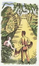 Dama Desnuda & Edward Bawden jardinero en Kew impresión en 11 X 14 listo para marco de montaje