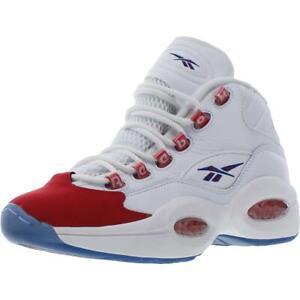 Reebok Boys Question Mid White Running Shoes 4 Medium (D) Big Kid BHFO 9471