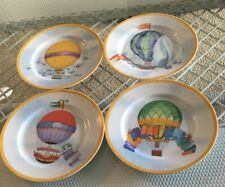 Set Of 4 Williams Sonoma Hot Air Balloon Porcelain Salad Plates Montgolfiere
