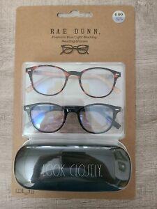 Rae Dunn 2 Pack NON PRESCRIPTION Blue Light Glasses With Case