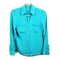 Express Womens The Portofino Shirt Bright Blue Long Sleeve Career Blouse Sz XS