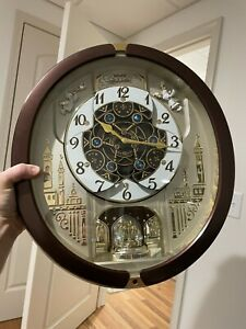 SEIKO Melodies in Motion Clock QXM491BRH 18 Melodies Swarovski Collectors TESTED