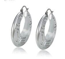 Sterling Silver Plated Lightweight Large Chunky Pattern Hoop Earrings