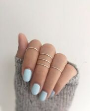 Skinny Gold Polished Stacking Ring Set of 4 with Exquisite Gift Box