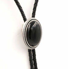 868a78c8c6f5 Hand Made Natural Black Onyx Stone Western Cowboy Leather Bolo Neck Tie