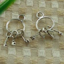 free ship 60 pieces tibetan silver key charms 27x12mm #3556