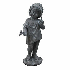 Large Garden Angel Ornament Figure aged antique lead effect finish little boy