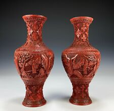 Pair of Antique Chinese Carved Lacquer Cinnabar Vases with Figures