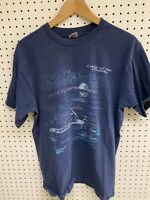 Vintage Lake of The Ozarks Blue Graphic Fishing T-shirt Size L