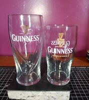 Guiness Brewed in Dublin (2) Pint Glasses with Gold Harp Emblem Guiness Clean!!!