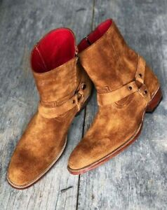 Handmade Men's Brown Round Toe Side Zipper Buckle Genuine Suede Ankle Boots
