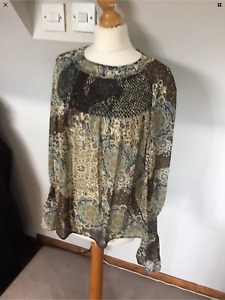 MARKS AND SPENCER LADIES LIMITED EDITION BOHO GYPSEY PURPLE BEIGE CHIFFON TOP BL