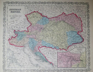 1856 MAP of AUSTRIAN EMPIRE - Hand Colored