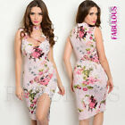 New Sexy Floral Print Choker Lace Up Dress with Front Split Size 4 6 8 10 XS S M