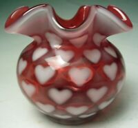 "Fenton Art Glass Heart Spot Optic Cranberry Opalescent 4 ¼"" Rose Bowl Vase 1990s"