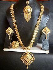 Indian Wedding 22K Gold Plated Necklace Earrings Tikka Rani Haar 11'' Long Ring7
