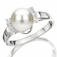 Pearl Ring Sterling Silver 7.5-8mm White Freshwater Pearl High Luster