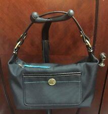 Coach Small Black Nylon & Aqua Turquoise Leather Purse Handbag