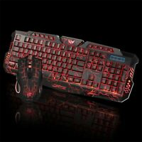 Keyboard Mouse Set and Gaming Rainbow Backlit Mechanical for PC PS4 PS3 Xbox One