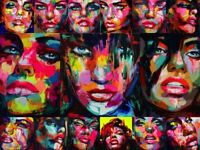 Francoise Nielly Knife Oil Painting Colorful Canvas HD Face Portrait Home Decor