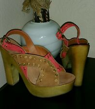 ASH  wedges EXCEPTION shoes sandals wedge sZ 39/9 leather SUEDE,,WOOD