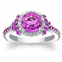 14K Solid White Gold 1.72 Ct Natural Diamond Pink Sapphire Ring Size  K L