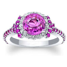 14K Solid White Gold 1.72 Ct Real Diamond Natural Pink Sapphire Band Size K L M