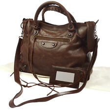 Authentic BALENCIAGA THE VELO 2way Hand Bag Brown Leather Vintage Italy JT05414